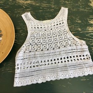 • White Crochet Crop Top •
